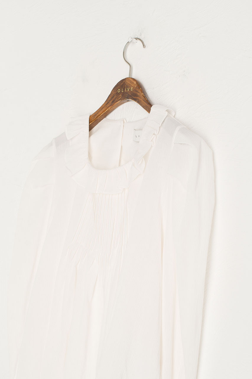 Frill Pin Tuck Blouse, Ivory