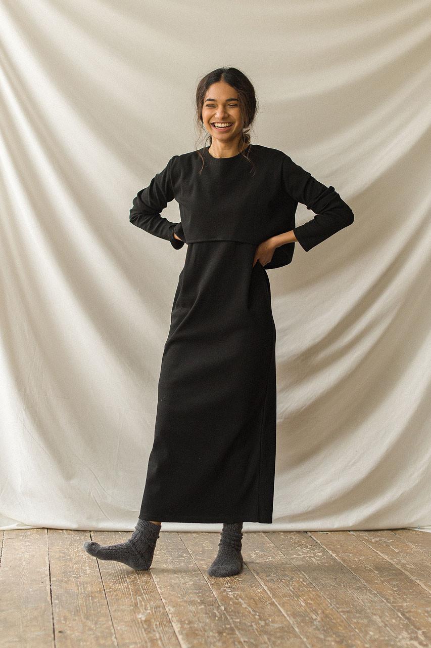 Sleeveless Dress & Crop Tee Set, Black