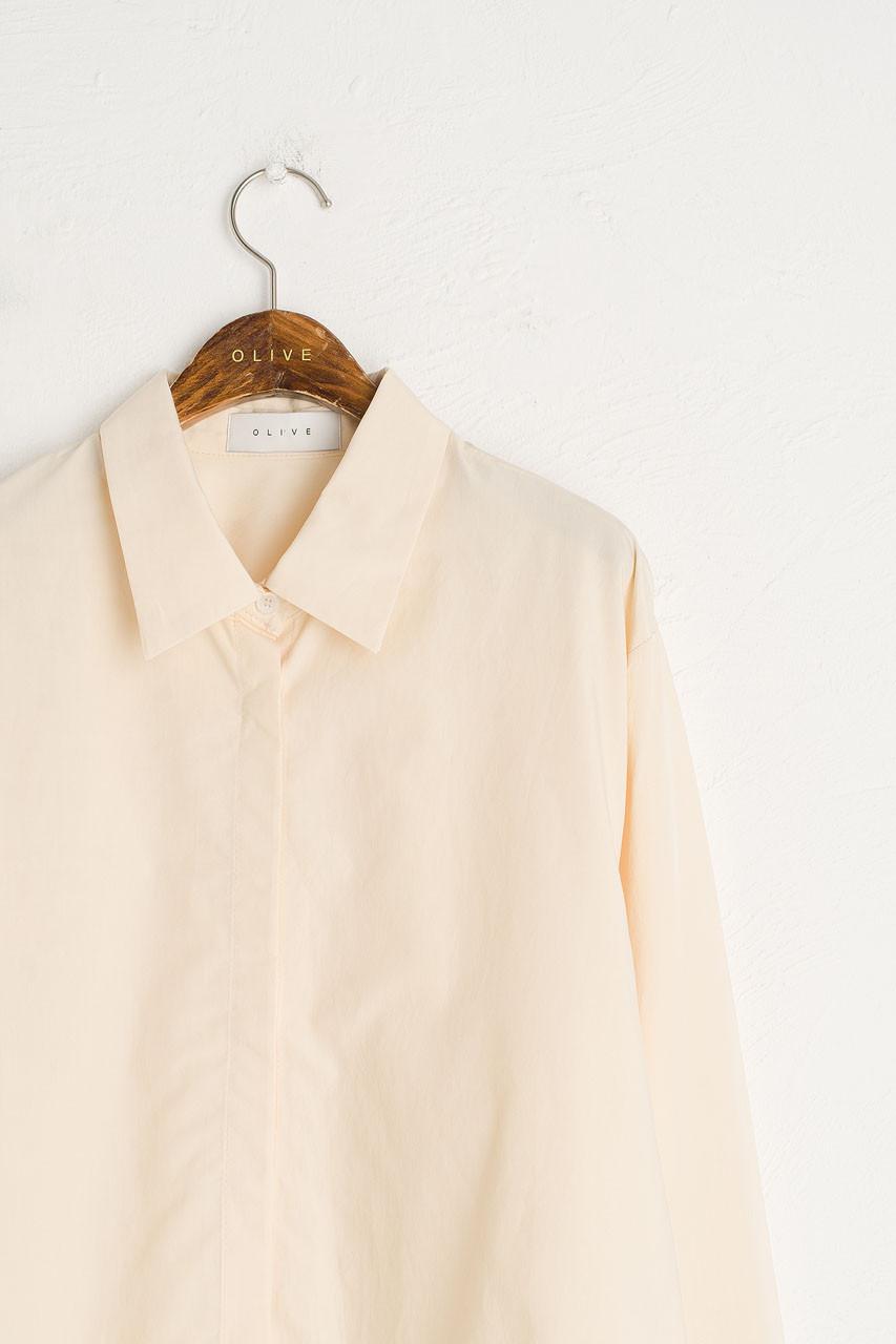 Dana Crop Simple Shirt, Butter