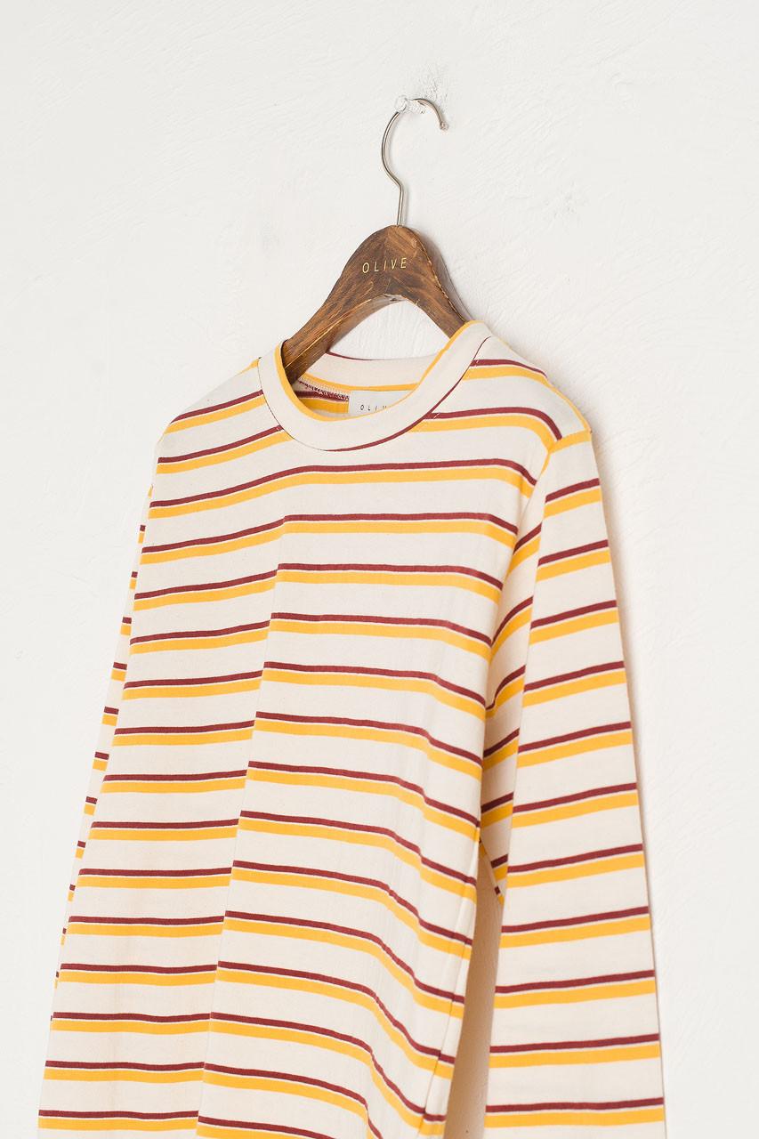 Double Stripe Long Sleeve Tee, Yellow