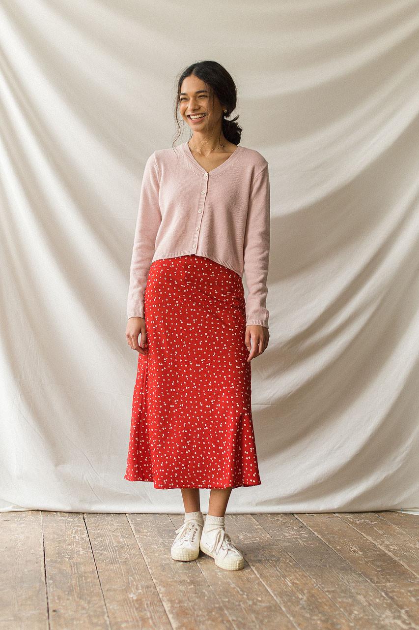 Yuha Flower Print Skirt, Red