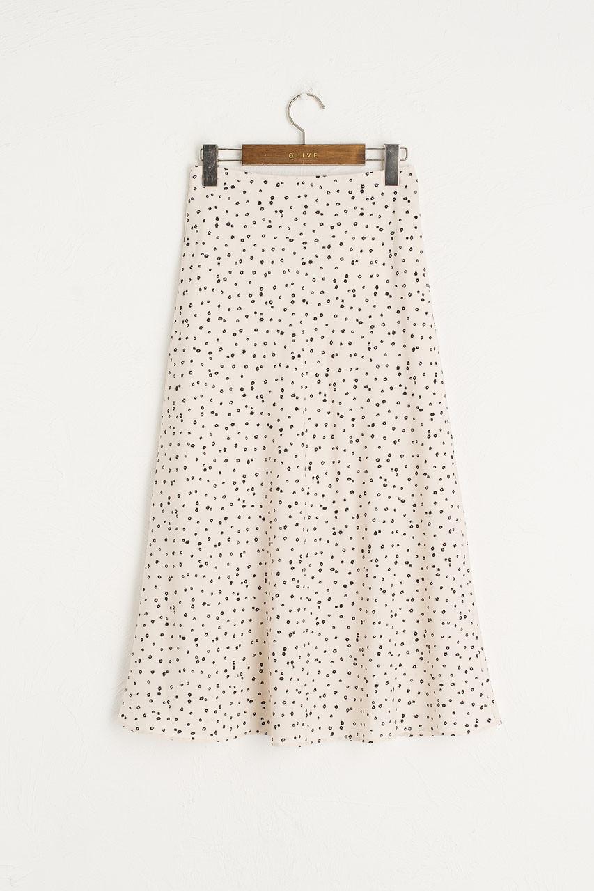 Yuha Flower Print Skirt, Ivory