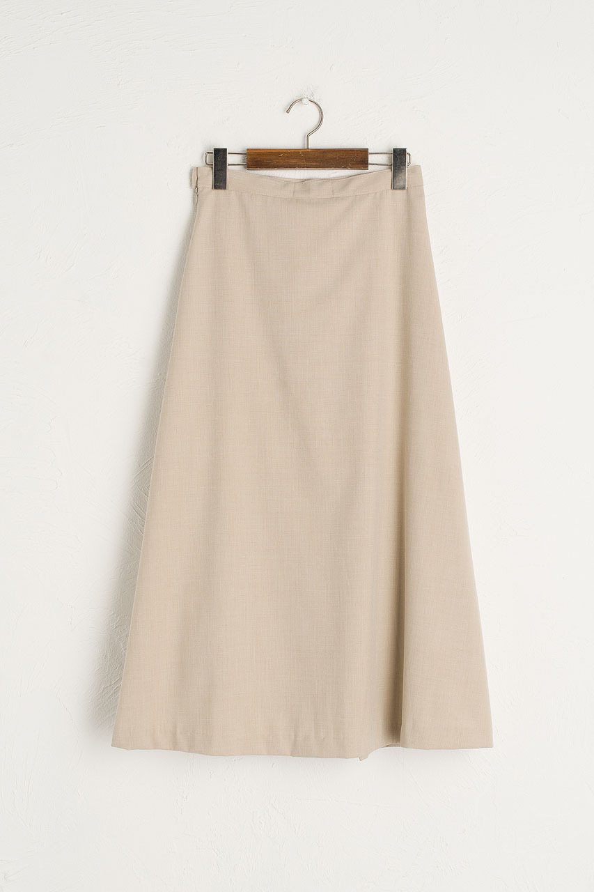 Joy Pleated Mid Skirt, Beige