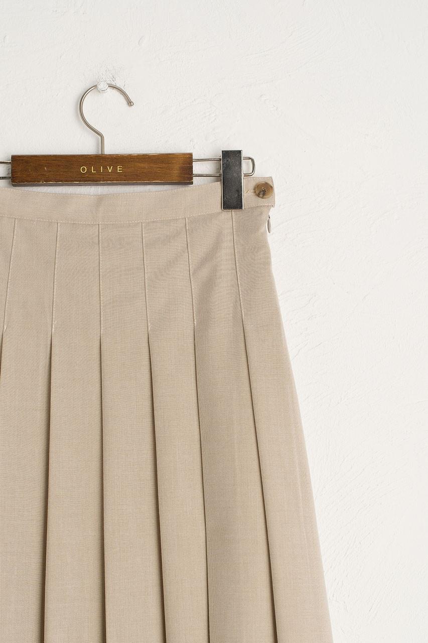 Joy Pleated Mid Skirt, Beige