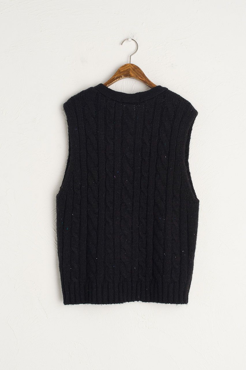 Flecked Cable Vest, Navy