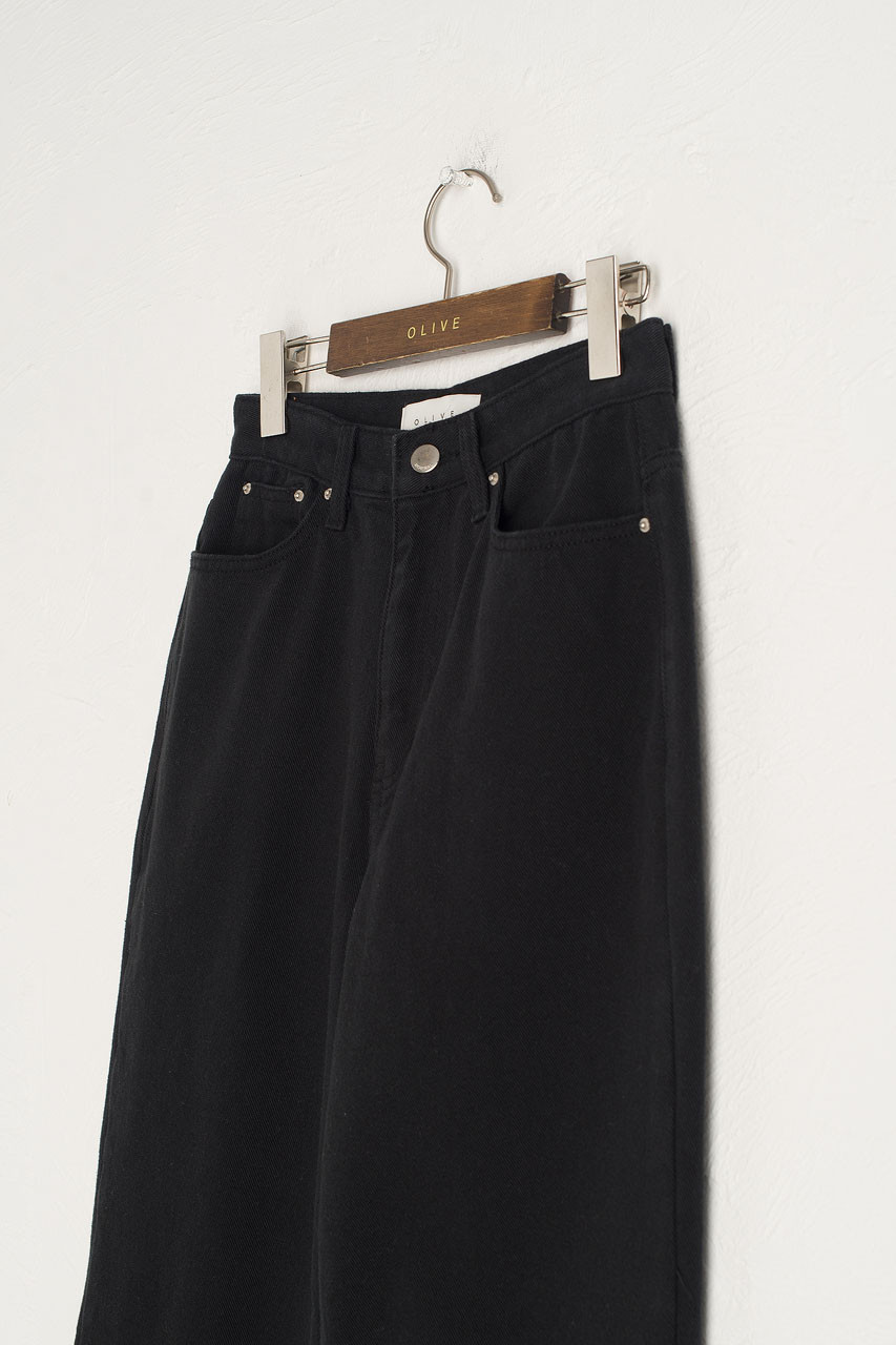 Cotton Twill Denim Pants, Black