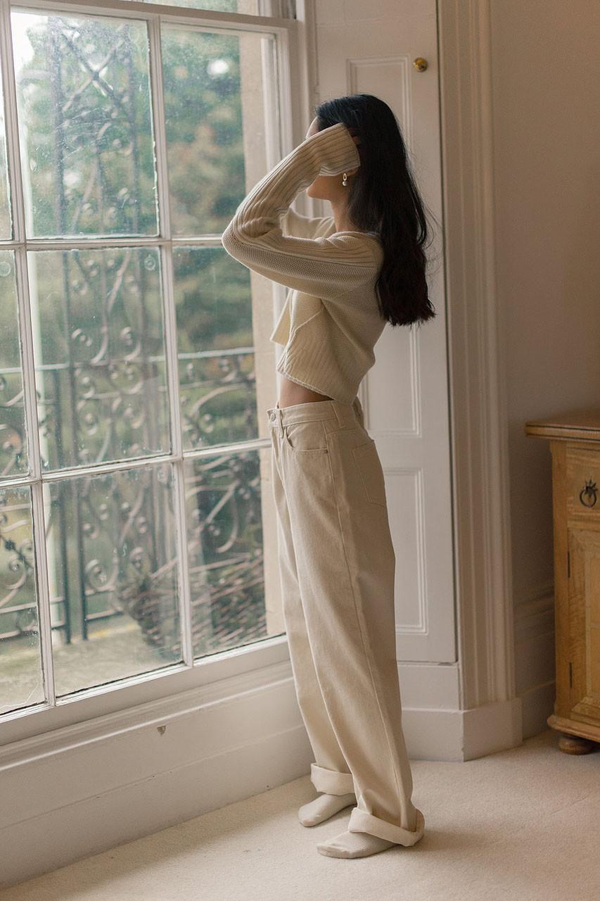 Cotton Twill Denim Pants, Ivory