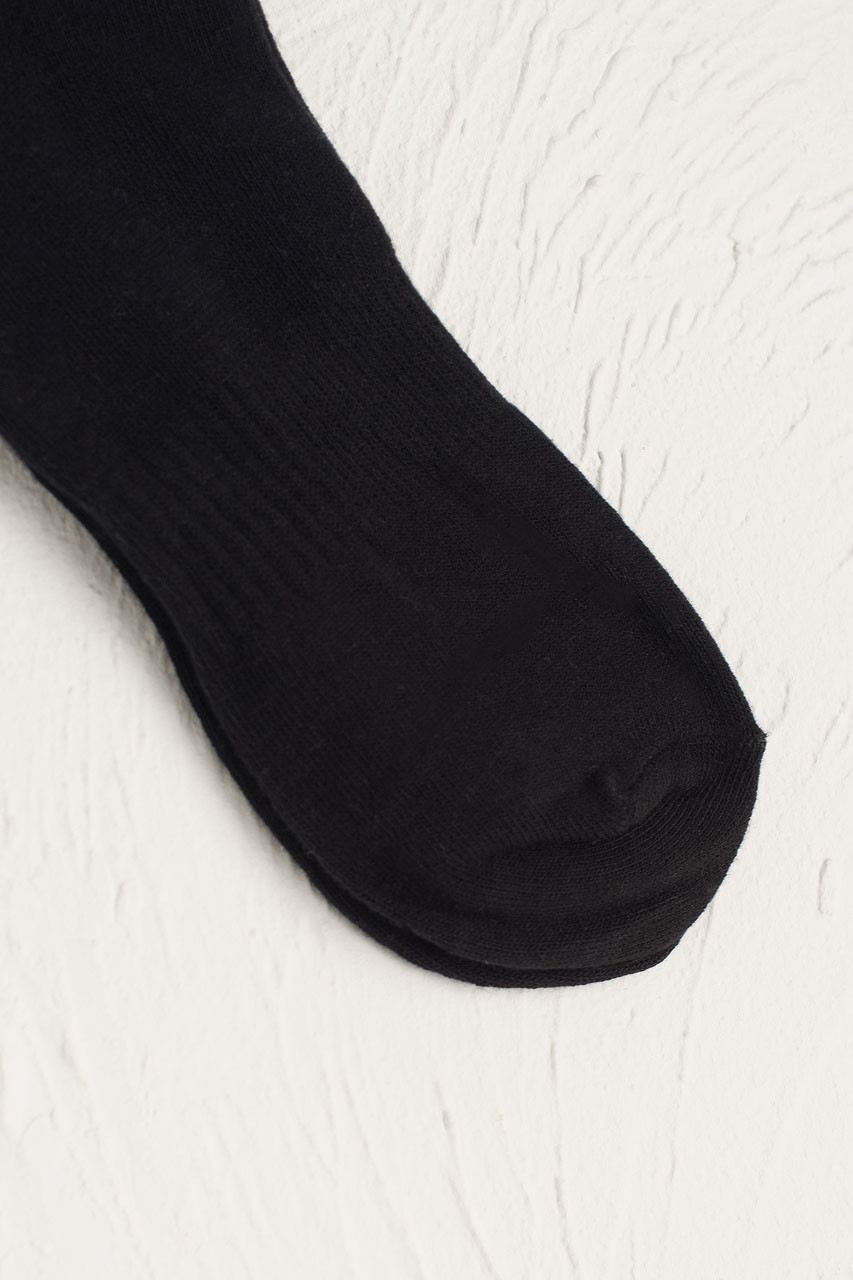 Hana Ribbed Long Socks, Black