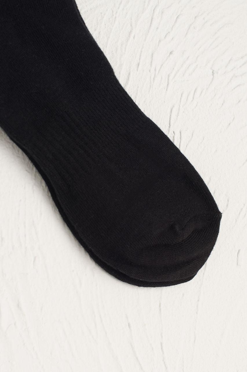 Hana Ribbed Long Socks, Black