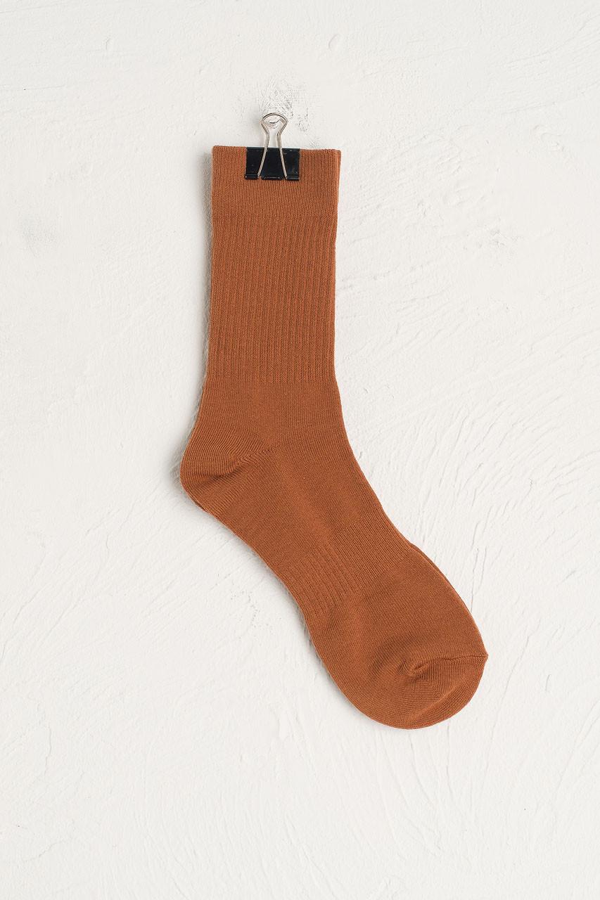 Hana Ribbed Long Socks, Camel