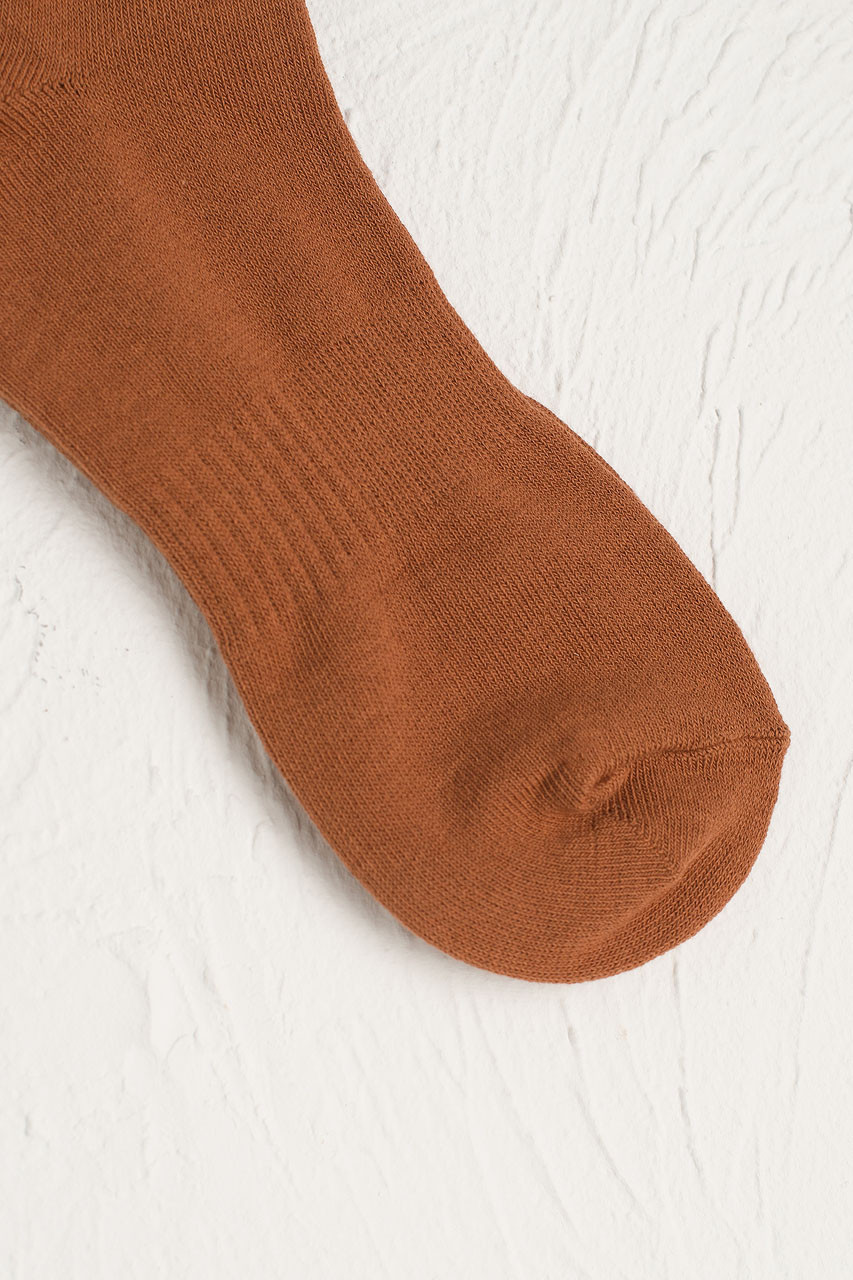Hana Ribbed Long Socks, Camel