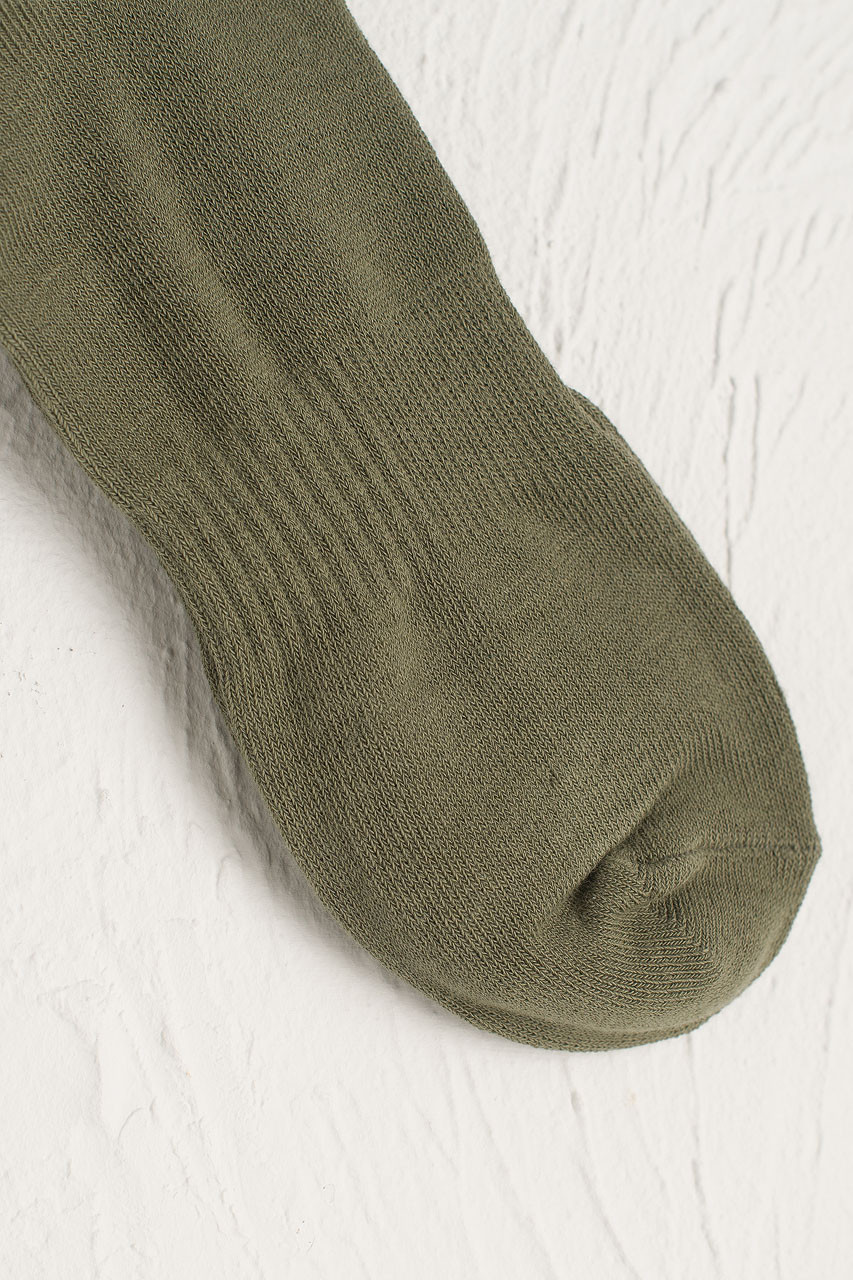 Hana Ribbed Long Socks, Khaki