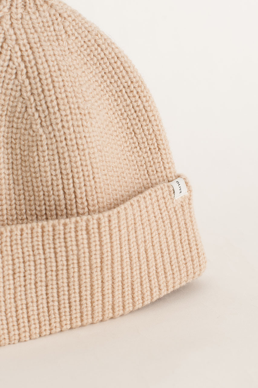 Knitted Beanie, Light Beige