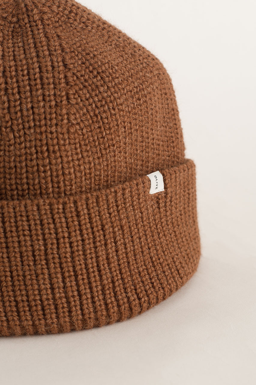 Knitted Beanie, Brown