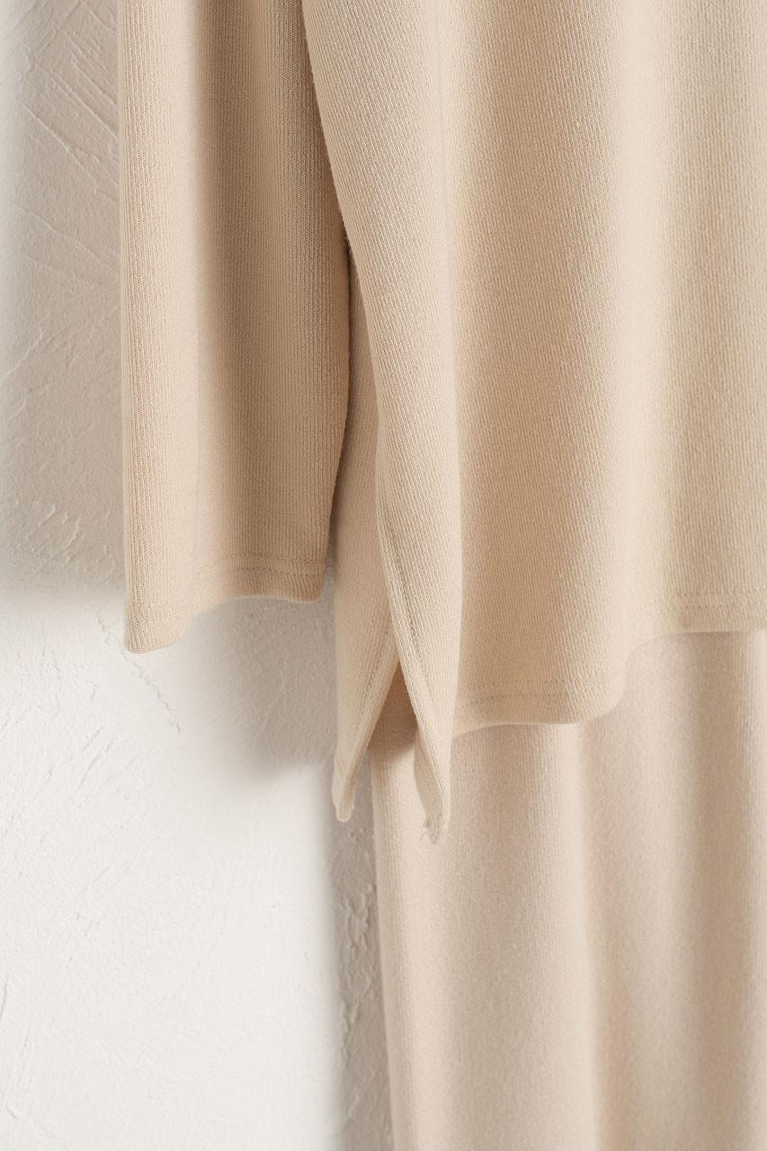 Slouch Tee & Wide Trousers Set, Light Beige
