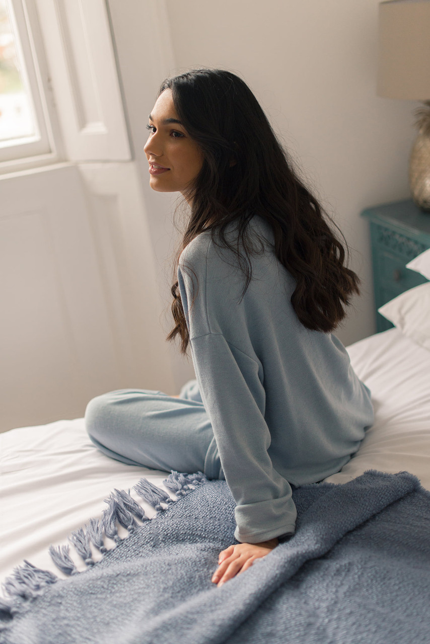 Slouch Tee & Wide Trousers Set, Blue