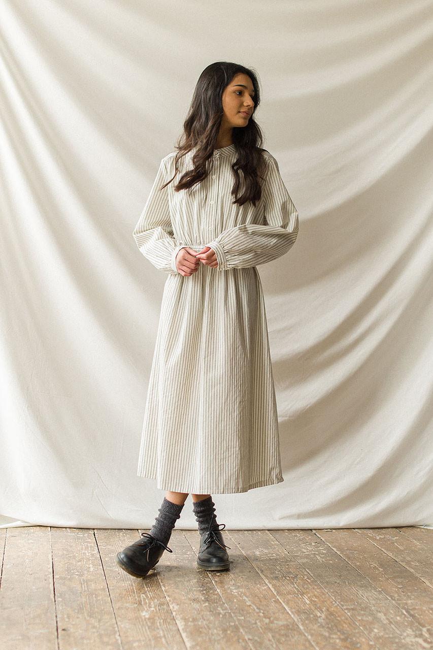 Henley Pin Stripe Dress, Ivory/Black