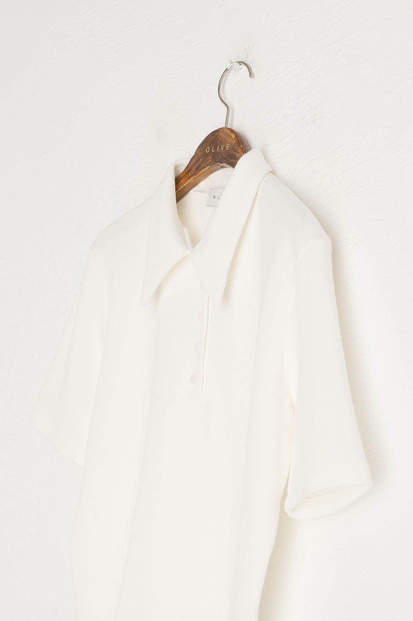 Button Simple Polo Tee, Ivory