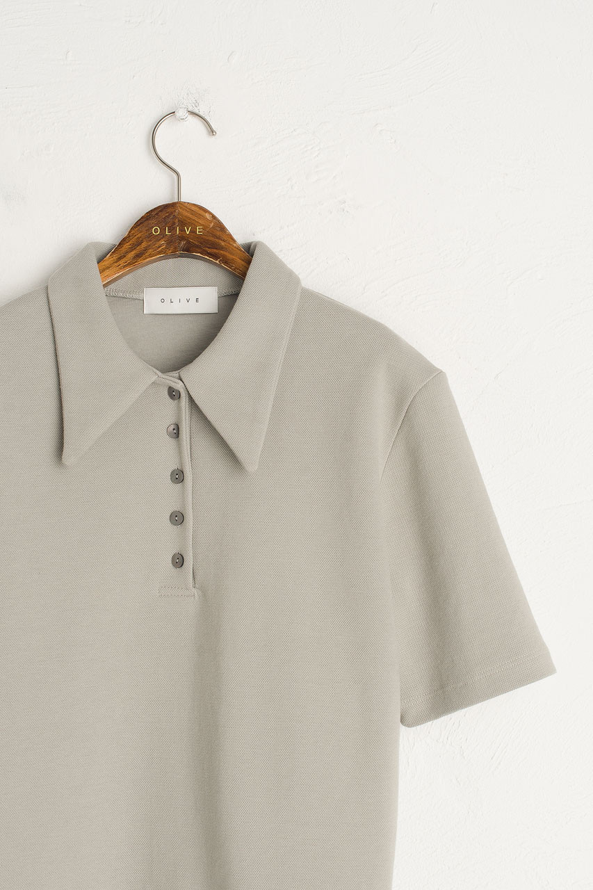 Button Simple Polo Tee, Dove