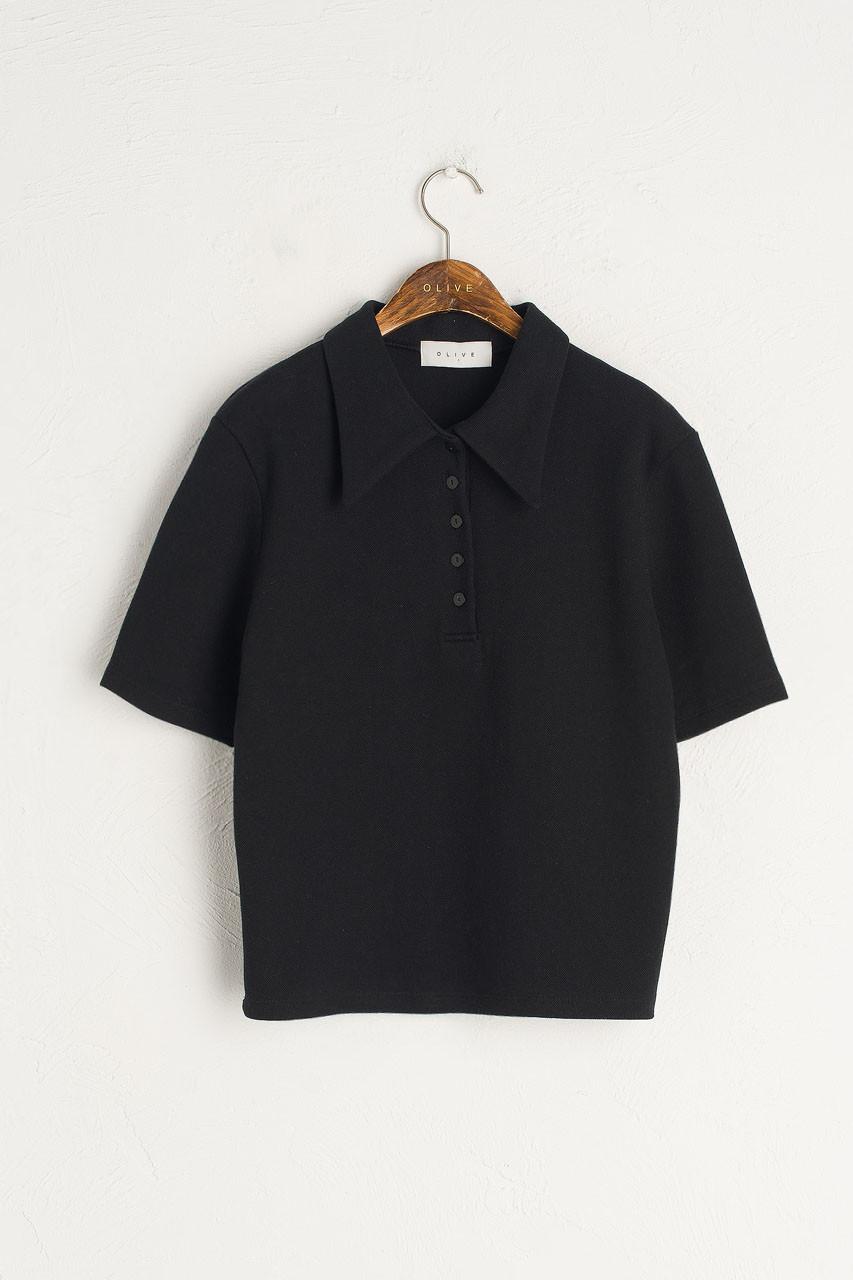 Button Simple Polo Tee, Black