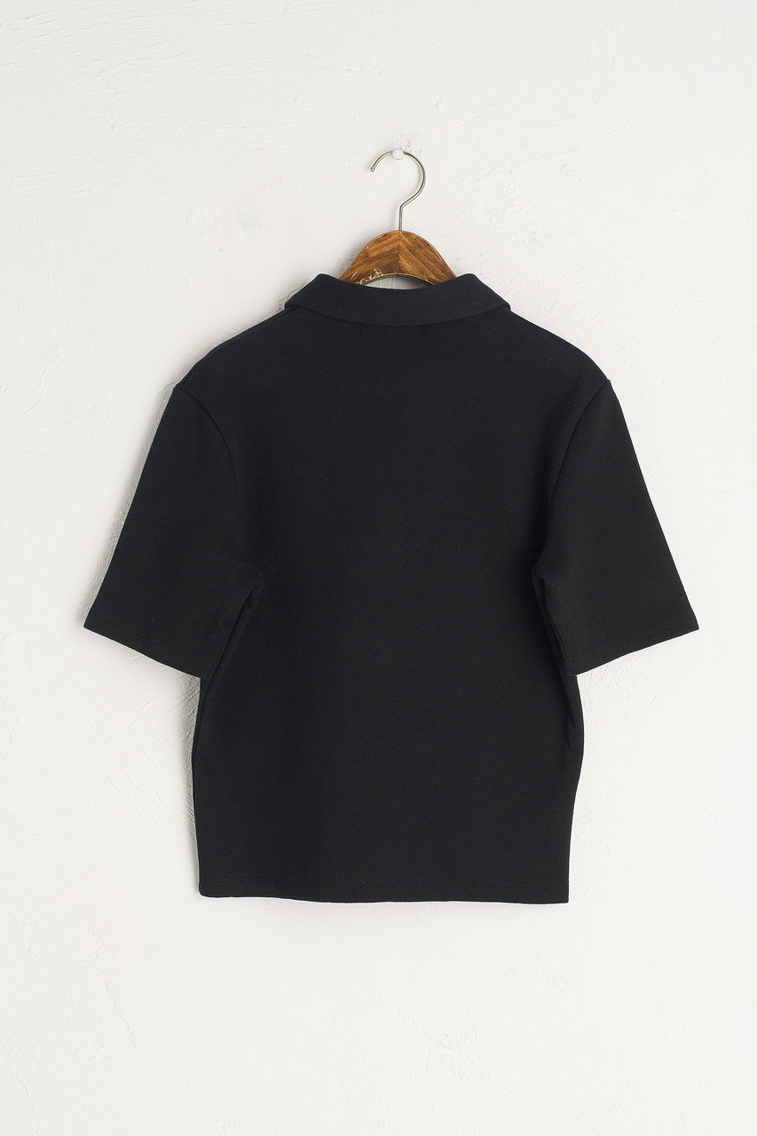Button Simple Polo Tee, Black
