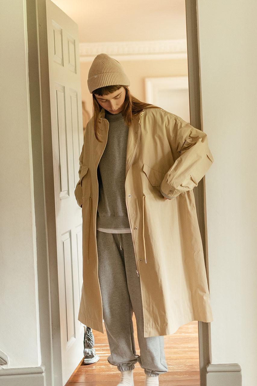 Kernow High Neck Coat, Beige
