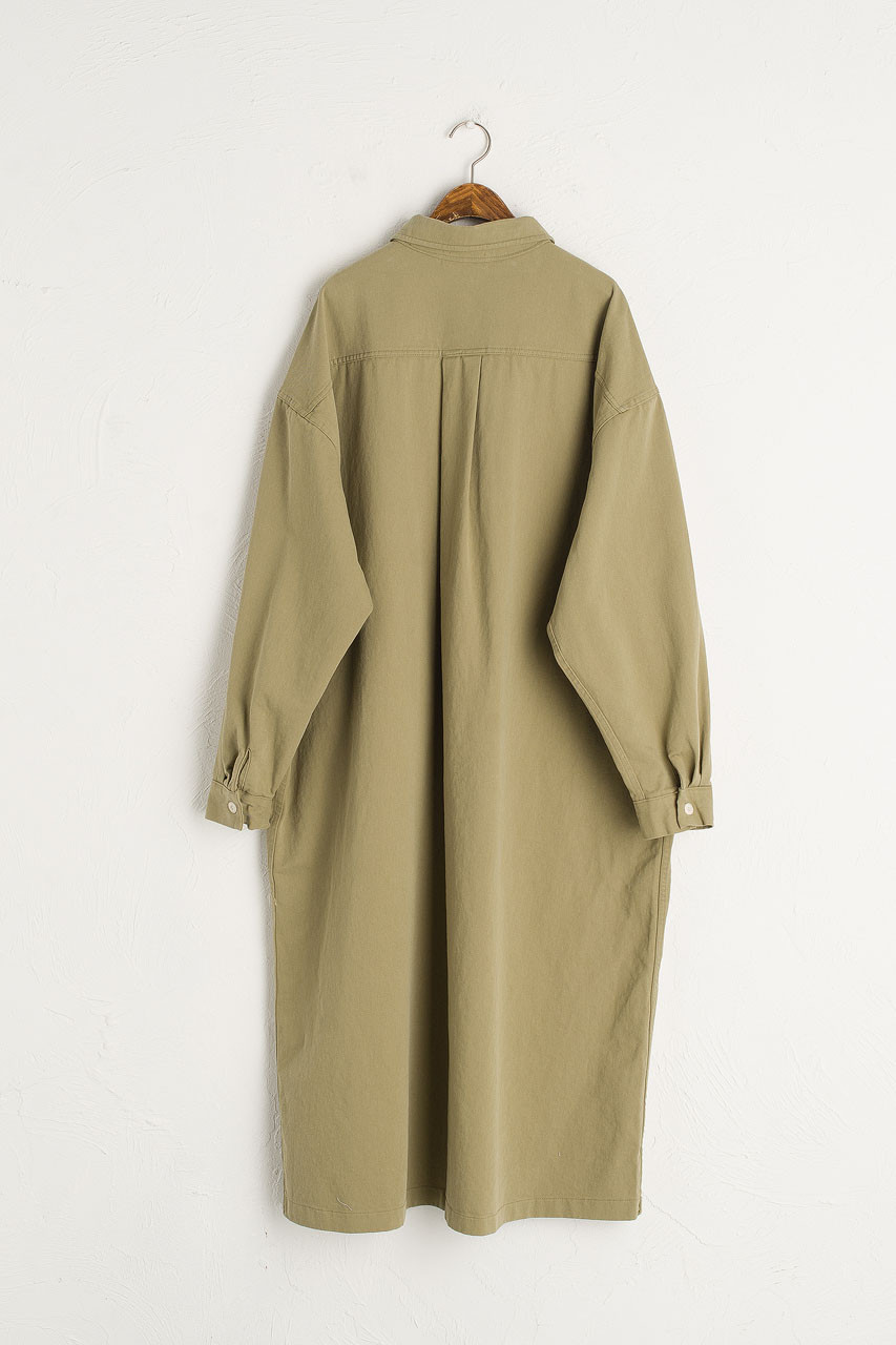 Cotton Twill Shirt Dress, Khaki