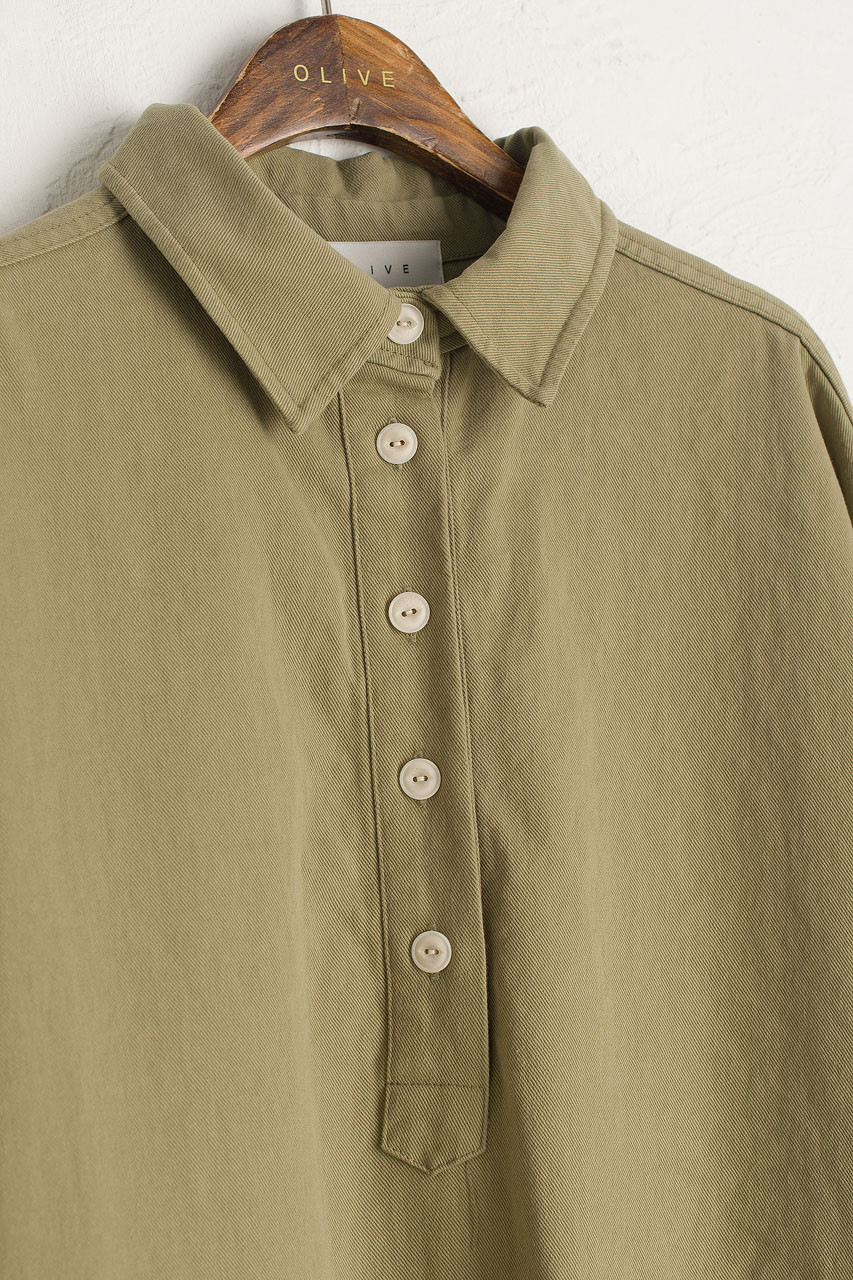 Cotton Twill Shirt Dress, Khaki