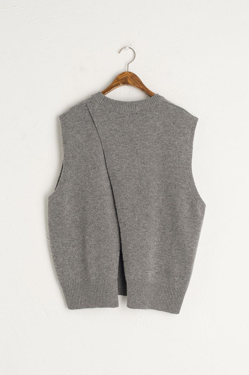 Leah Open Back Knit Vest, Grey