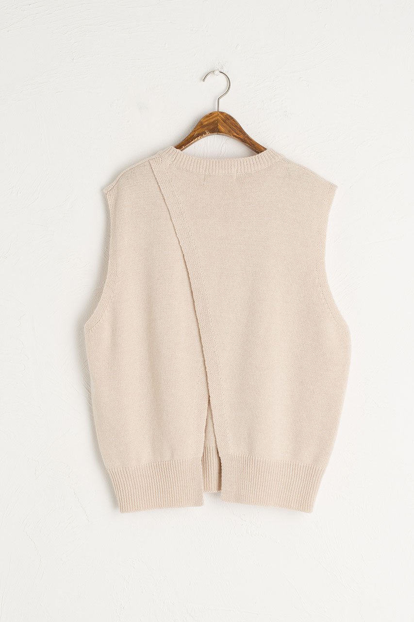 Leah Open Back Knit Vest, Oatmeal