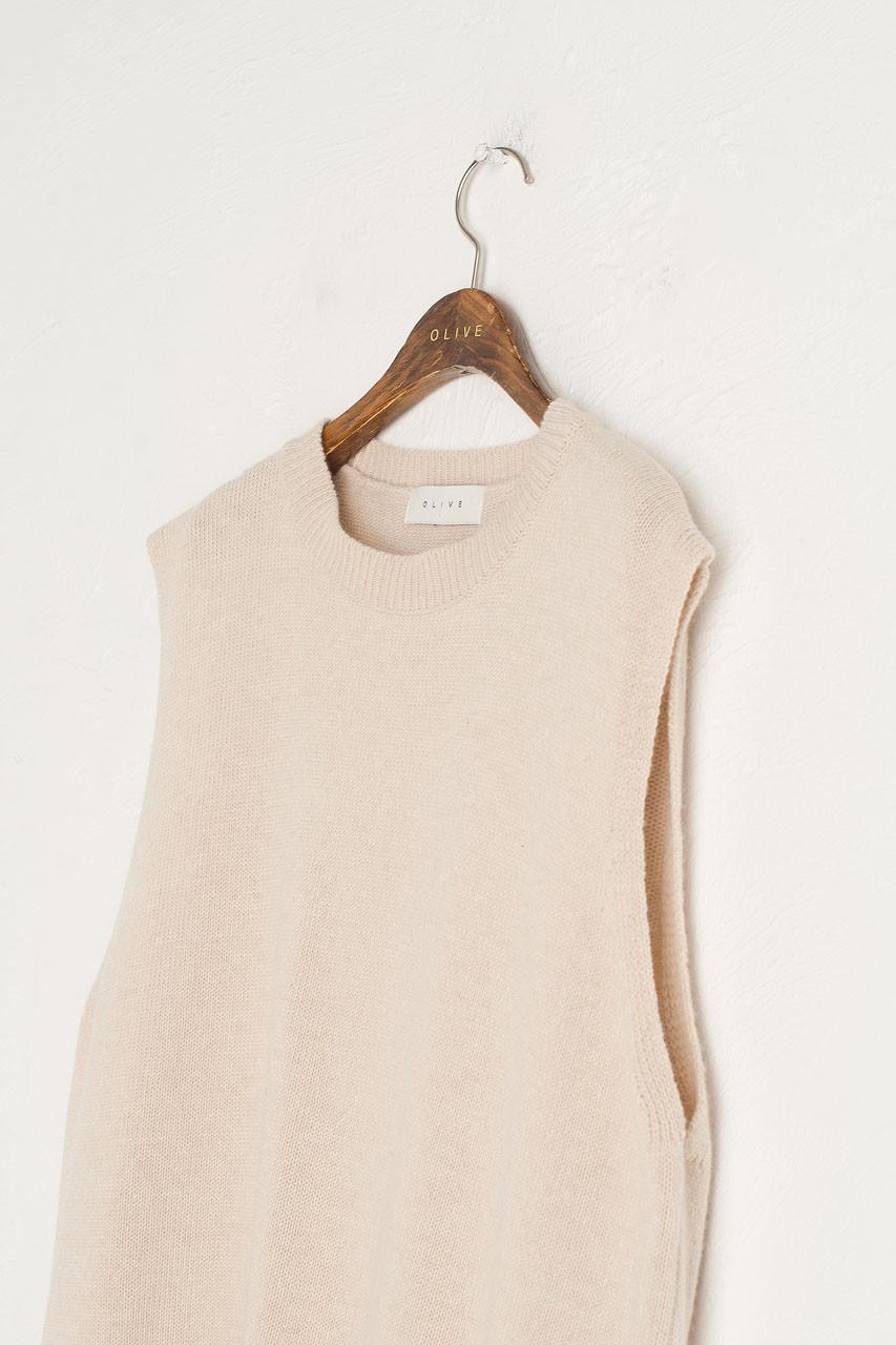 Leah Open Back Knit Vest, Oatmeal