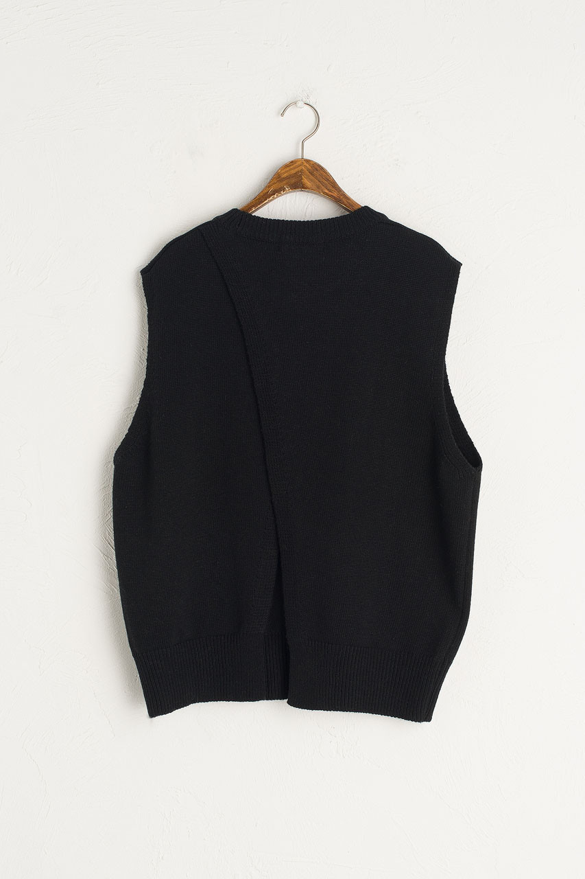 Leah Open Back Knit Vest, Black