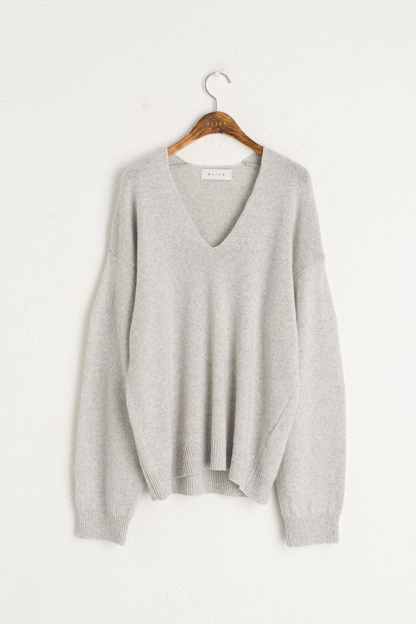 Slouch V Neck Jumper, Light Grey