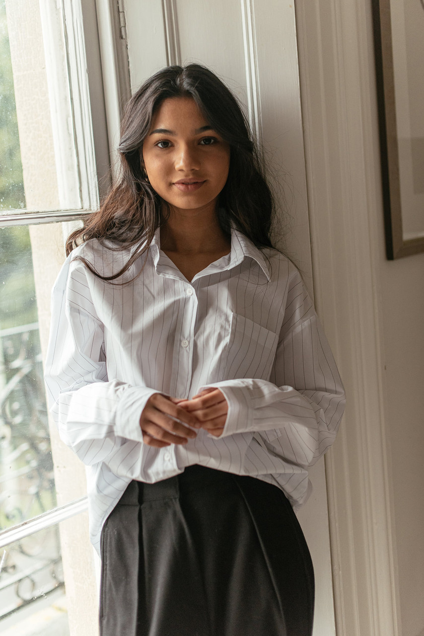 Darcey Stripe Shirt, Ivory