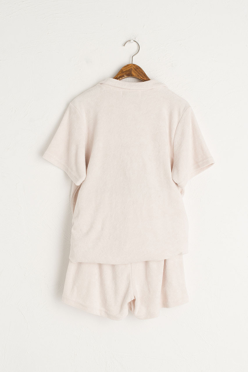 Teddy Camp Collar Shirt & Short, Ivory