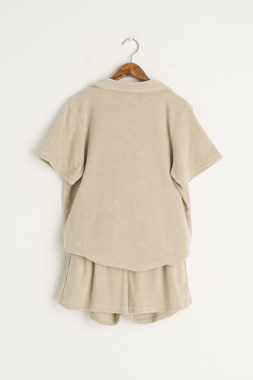 Teddy Camp Collar Shirt & Short, Sage