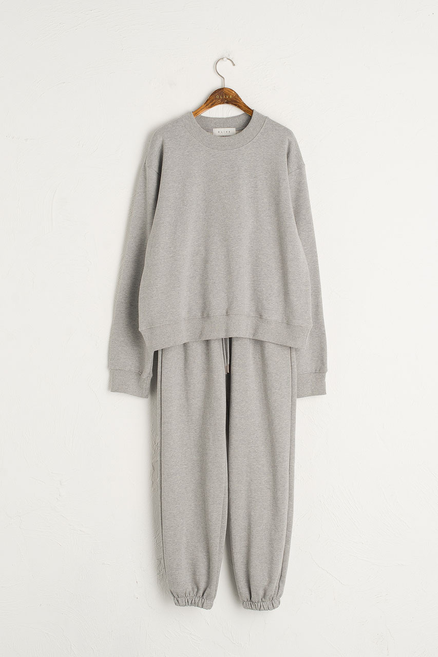 Sweatshirt & Jogger Set, Melange Grey