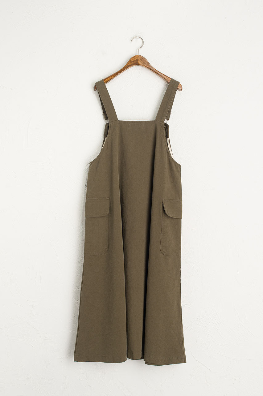 Big Pocket Dungaree Dress, Khaki
