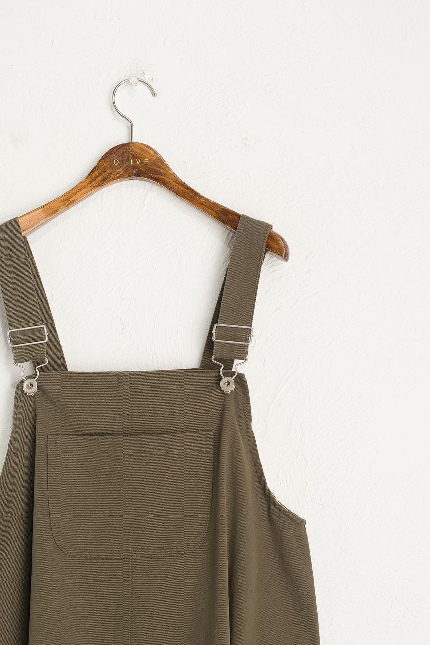 Big Pocket Dungaree Dress, Khaki