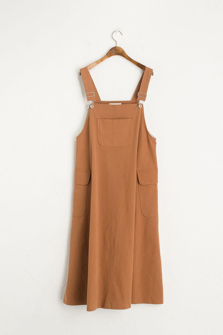Big Pocket Dungaree Dress, Camel