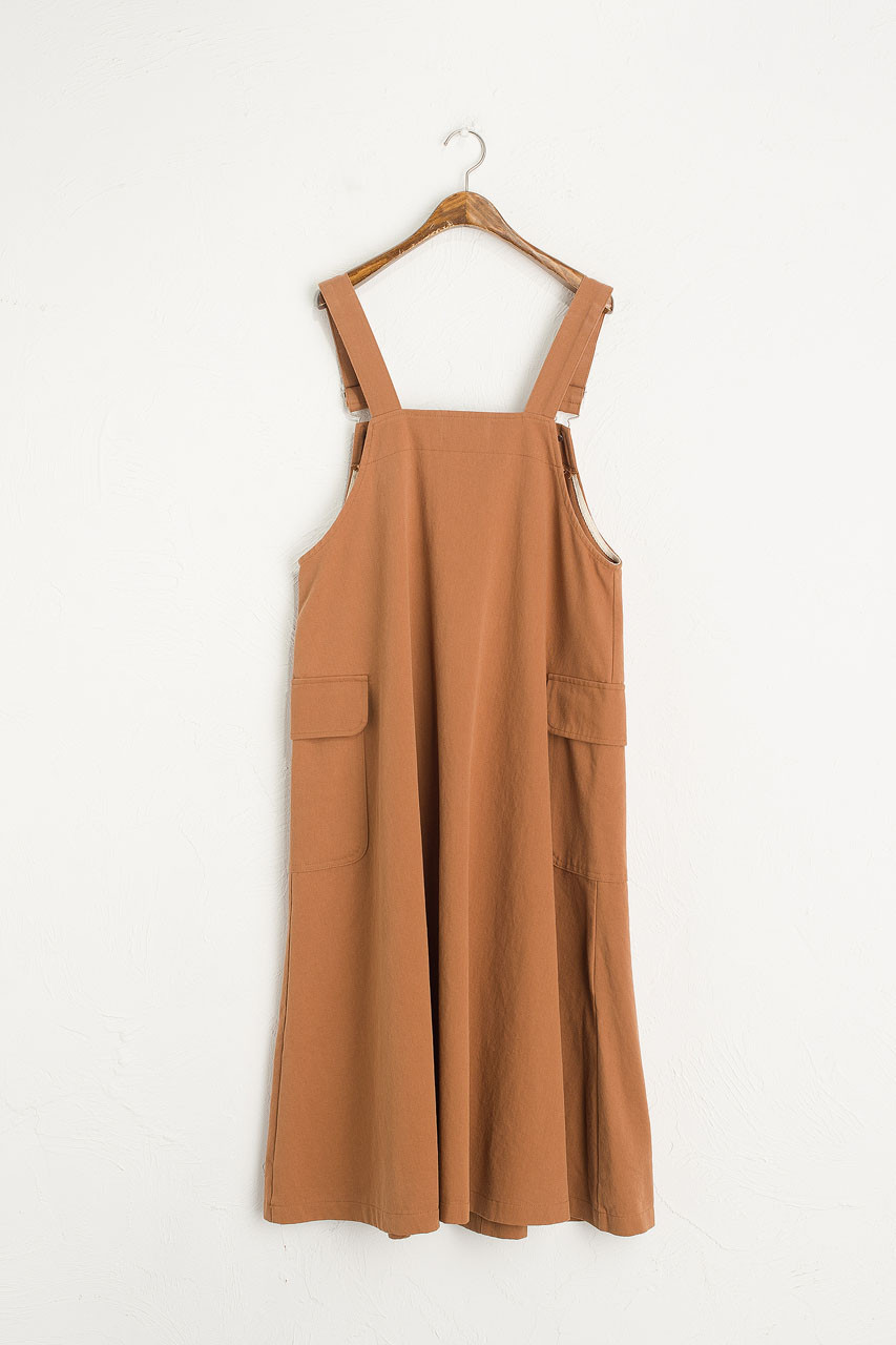 Big Pocket Dungaree Dress, Camel