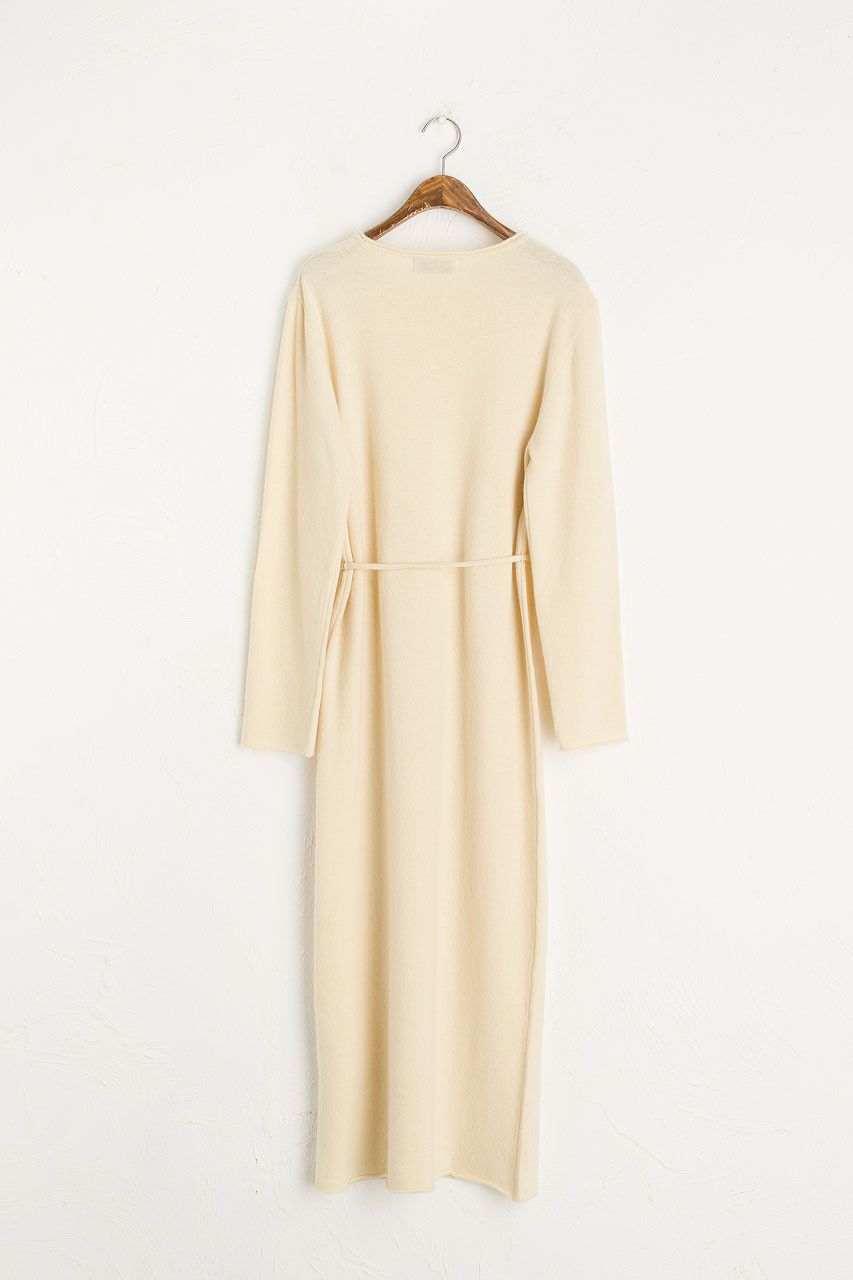 Boat Neck Oversize Knit Dress, Cream