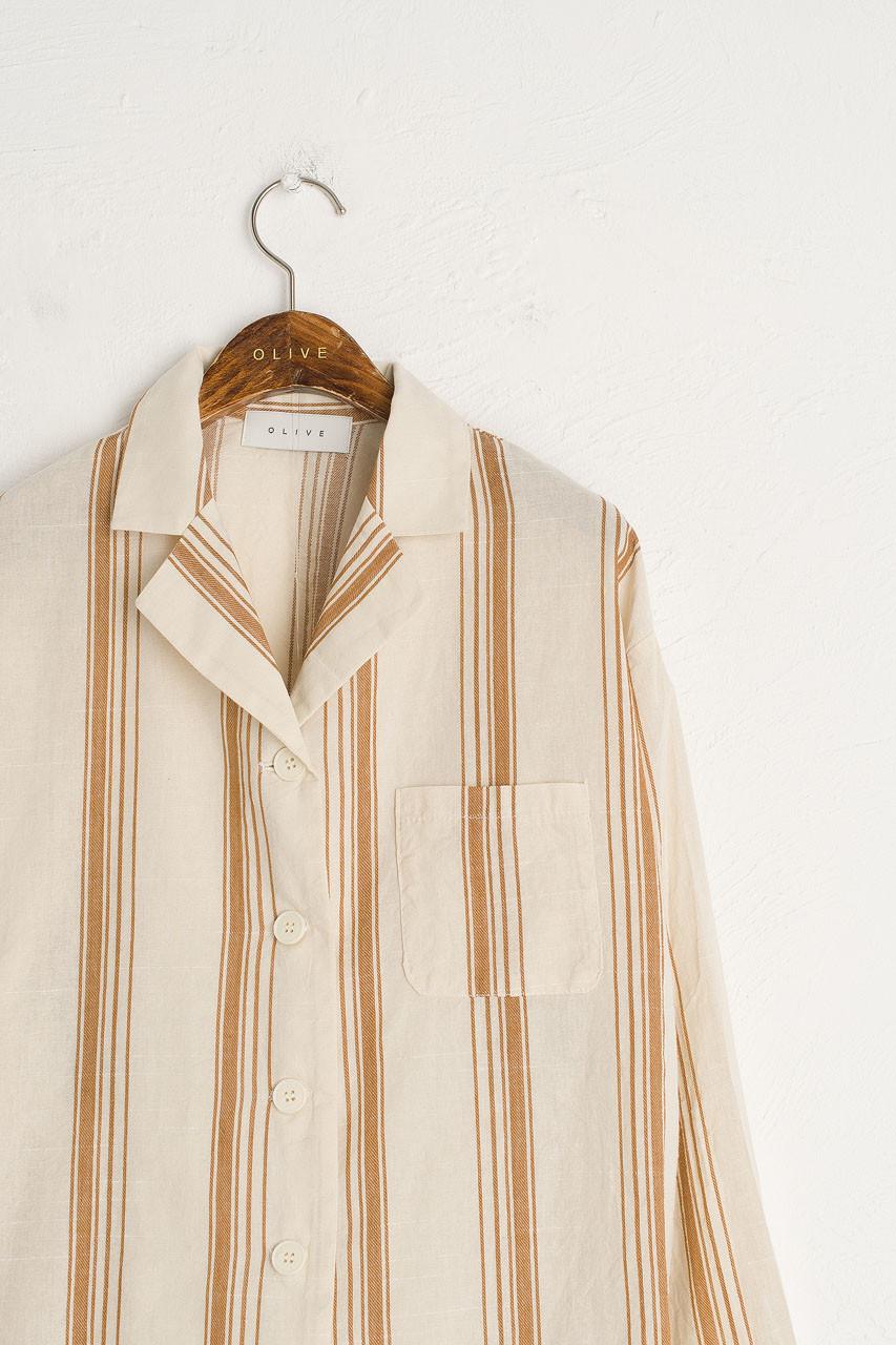 Stripe Pyjamas, Beige