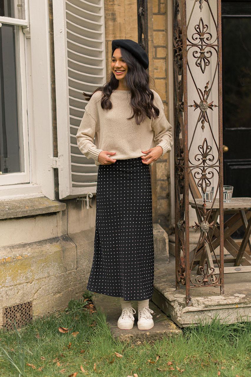 Tomo Dot Skirt, Black