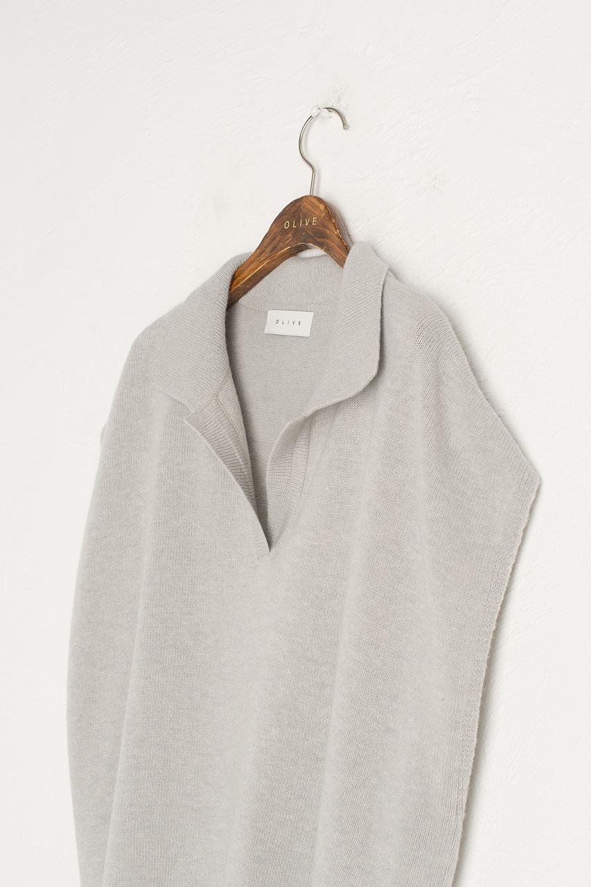 Jane Collar Vest, Grey