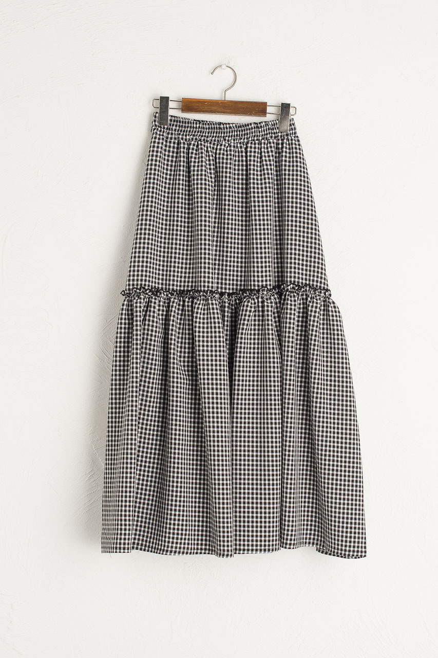 Ruffle Tiered Gingham Skirt, Black
