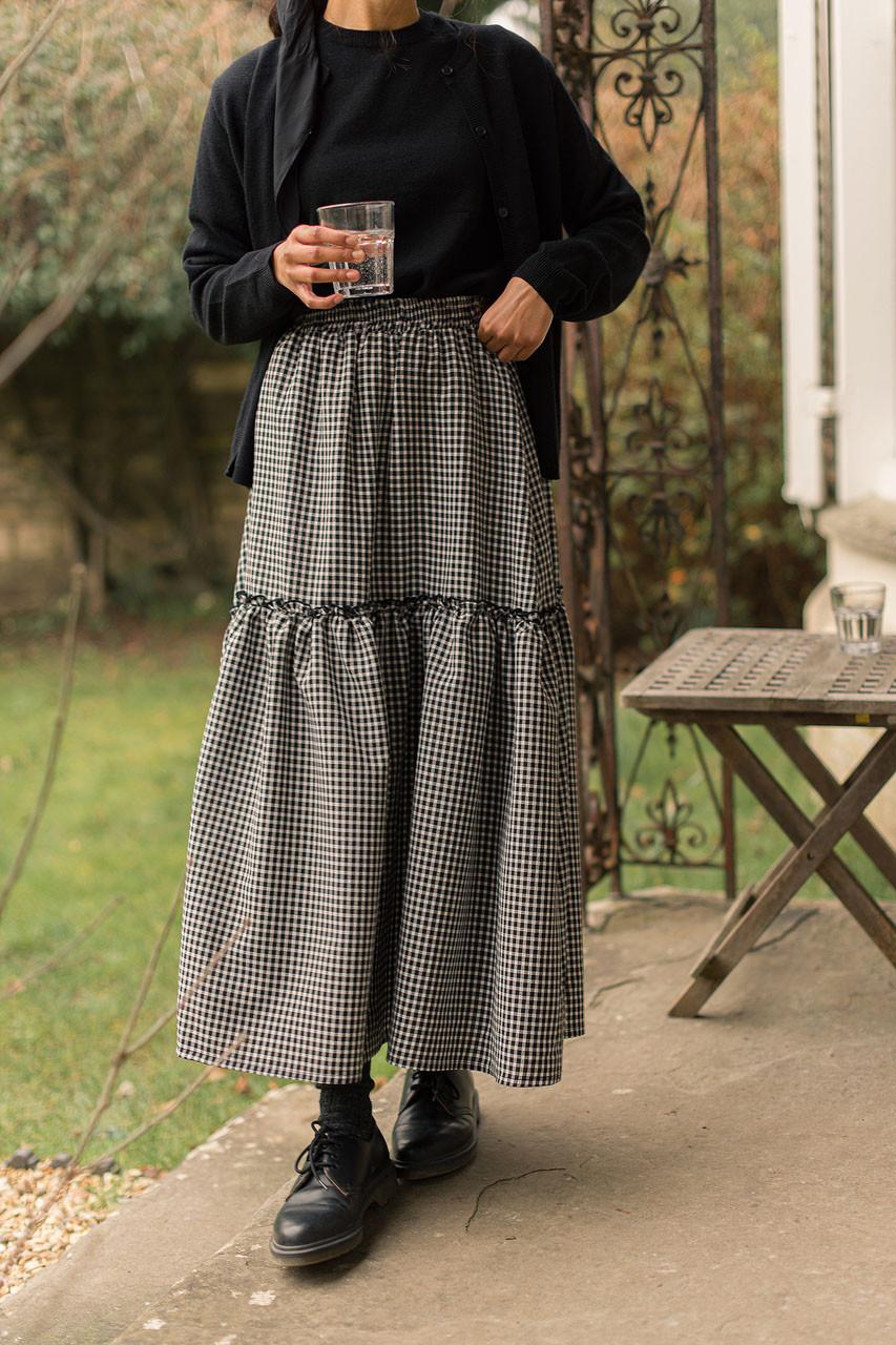 Ruffle Tiered Gingham Skirt, Black