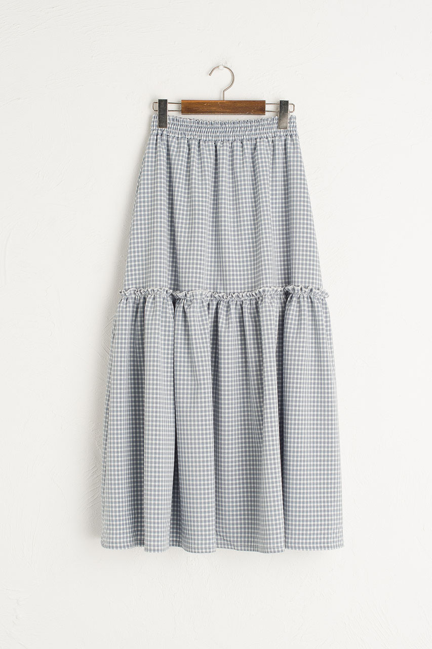 Ruffle Tiered Gingham Skirt, Blue