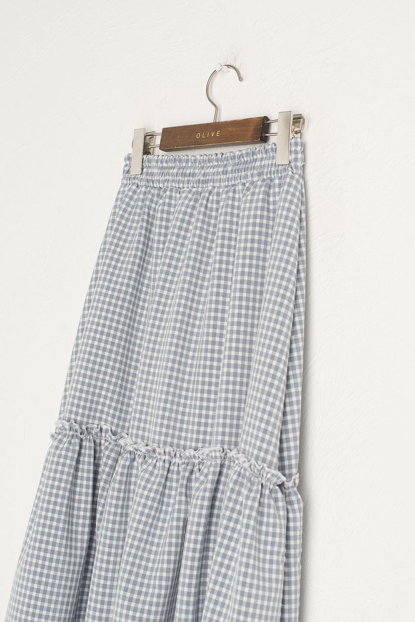 Ruffle Tiered Gingham Skirt, Blue