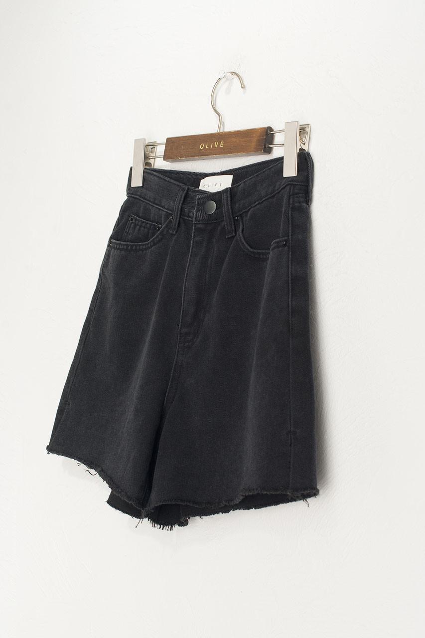 Mona Black Denim Short, Black